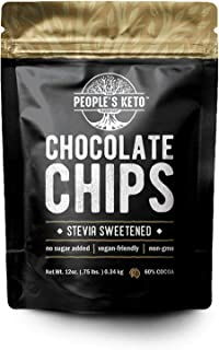 Sugar Free Large Chocolate Chips, Stevia Sweetened, 12 oz. Value Size, Non-GMO, Vegan, Keto, Low Carb, 60% Cocoa, All Natu...