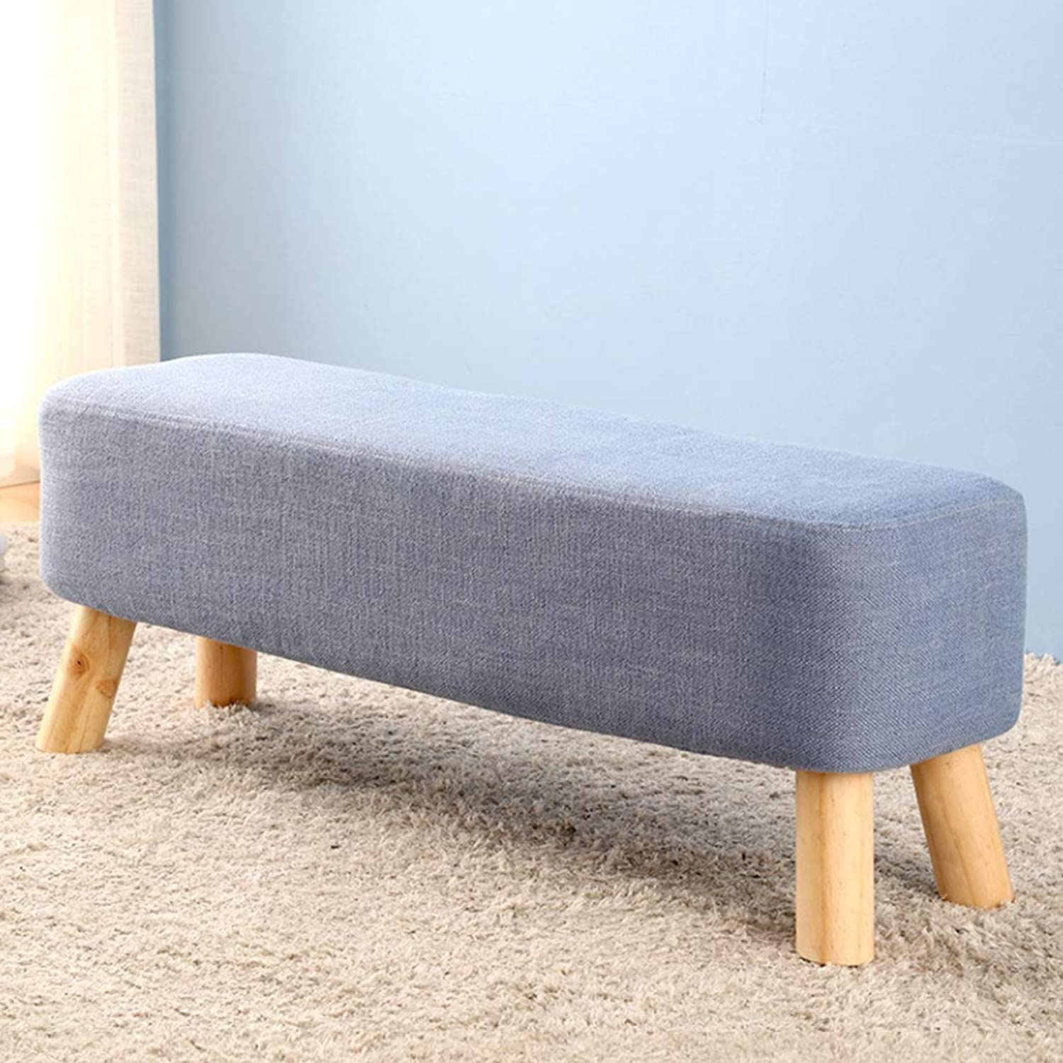 ZXW STOOLS- Cloth Change shoes Stool Door Sofa Stool Solid Wood Small Bench Wear shoes Stool (color   bluee, Size   90x29.5x35cm)
