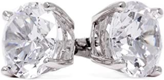 Diamond Studs, Diamond Stud Earrings for Women & Men, 14k White Gold, 2 ct Round Cut Diamond Earrings, Screw Back Earrings for Men & Women[Simulated Diamond]