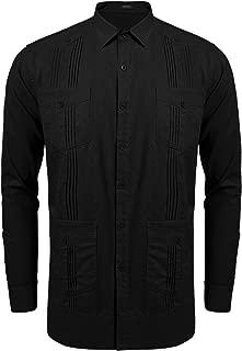 Men's Long Sleeve Guayabera Cuban Shirt Casual Button Down Cotton Linen Shirt