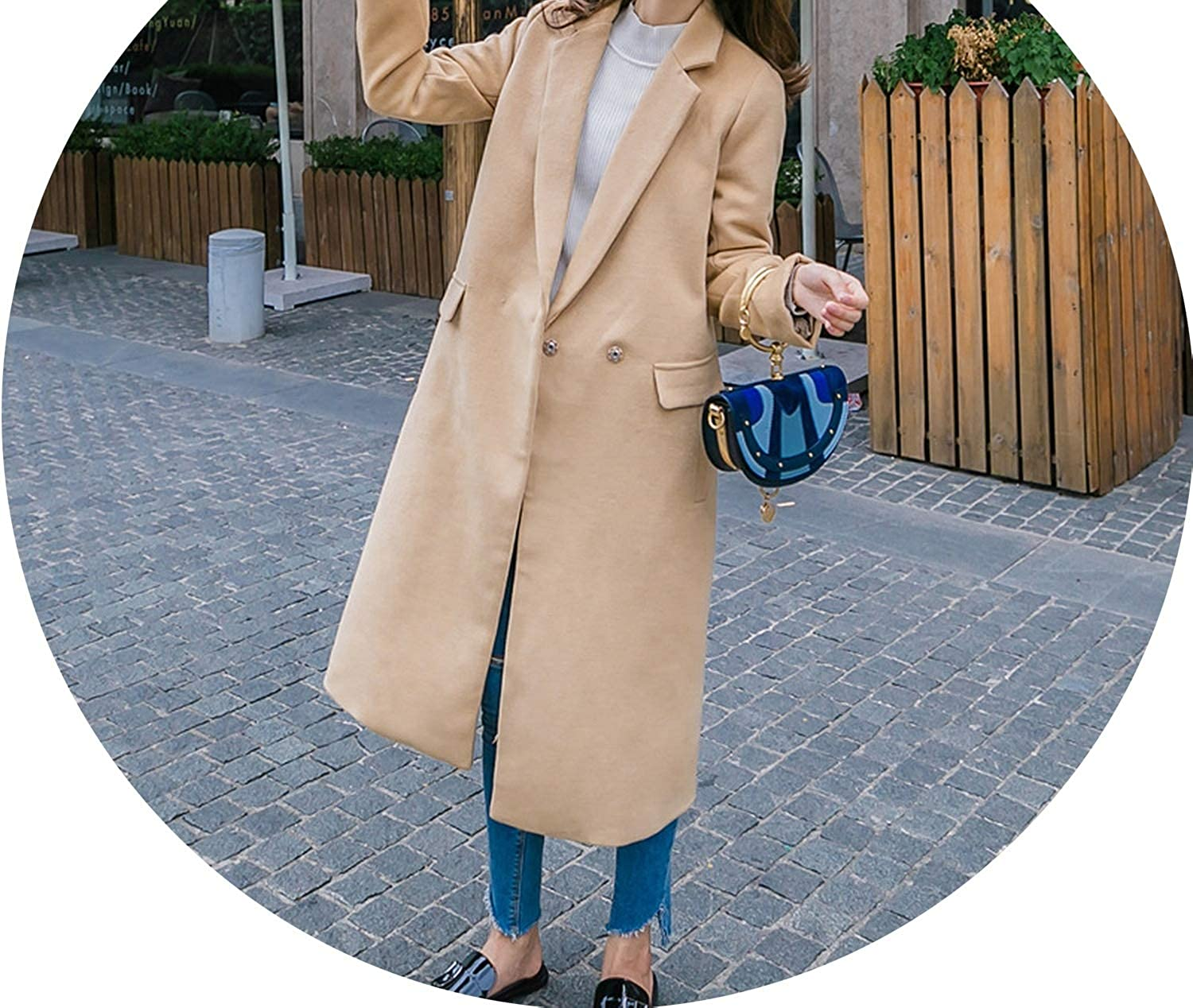 Casual Fashion Long Woolen Winter Coats WideWaisted LongWool Coat and Jacket Warm Covered Button Ladies Coats