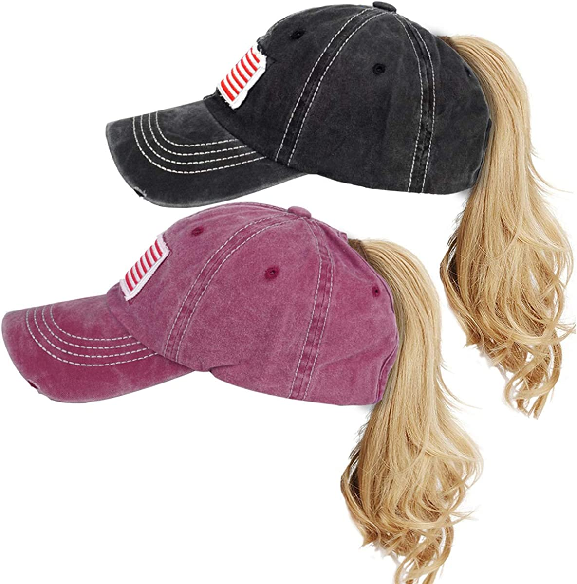 Women Ponytail Baseball Cap Vintage Baseball- Max 86% OFF Distressed Washed Brand Cheap Sale Venue