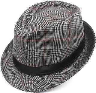 Hat Fashion Fashion Men Cotton Plaid Fedora Hat for Dad Gentleman Sun Homburg Hat Size 58CM Fashion Accessories (Color : Silver, Size : 58cm)