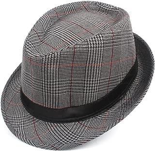 Hats Fashion Men Cotton Plaid Fedora Hat for Dad Gentleman Sun Homburg Hat Size 58CM Fashion (Color : Silver, Size : 58cm)