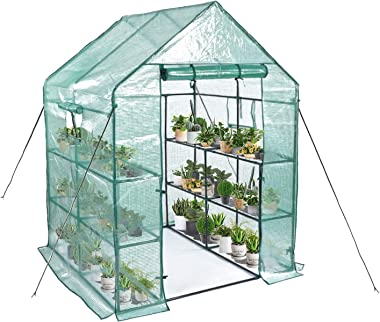 "Greenhouse, Mini Greenhouse Indoor&Outdoor with PE cover, 3 Tiers 8 Shelves Stands Greenhouse Include Anchors and Roll-Up Zipper Door, Portable Plant Gardening Greenhouse(56""×56""×76"")"