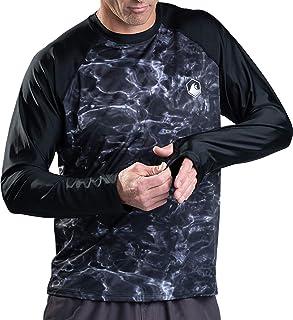Aqua Design Rash Guard Men Long Sleeve Thumb Hole UPF 50+ Rashguard Swim Shirts, Black Water/Black, Size X-Small