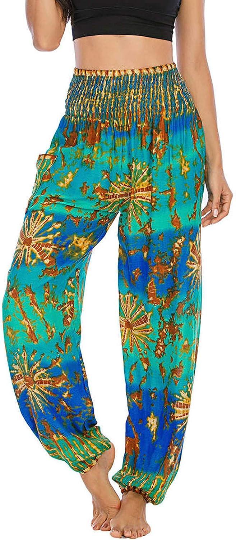 Joyionier Women's Loose Retro Floral Print Big Crotch Pants Jumpsuit Long Yoga Pants