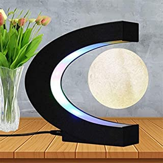 3 Inch C Shape Magnetic Levitation Floating Moon Maglev Moon with LED Light for Teaching Home Office Desk Decoration