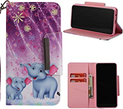 NVWA Compatible Huawei Y5 2018 Case,Honor 7S / Y5 Prime 2018 Phone Case Leather Wallet Kickstand Wrist Strap Credit Card Slot Flip Full Body Protective Cover Magnetic Stand Purple Fireworks Elephant