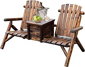 Outsunny Wooden Double Adirondack Chair Loveseat with Inset Ice Bucket, Rustic Aesethic, Weather-Resistant Materials