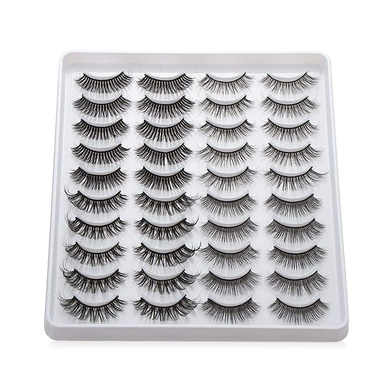 離す採用北米女性のファッション 混合様式 ハンドメイド 仮まつげ ウィスプFluffies 長い 3次元の人工ミンク睫毛(402)