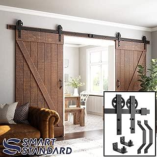 12ft Heavy Duty Double Gate Sliding Barn Door Hardware Kit, 12ft Double Rail, Black, (Whole Set Includes 2X Pull Handle Set & 2X Floor Guide) Fit 36