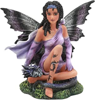 Ebros Beautiful Tribal Ebony Moth Fairy with Baby Dragon Statue Black African Fairy Decorative Figurine