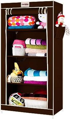 FOLDDON Foldable Wardrobe Single Door / 4 Shelves (Brown)