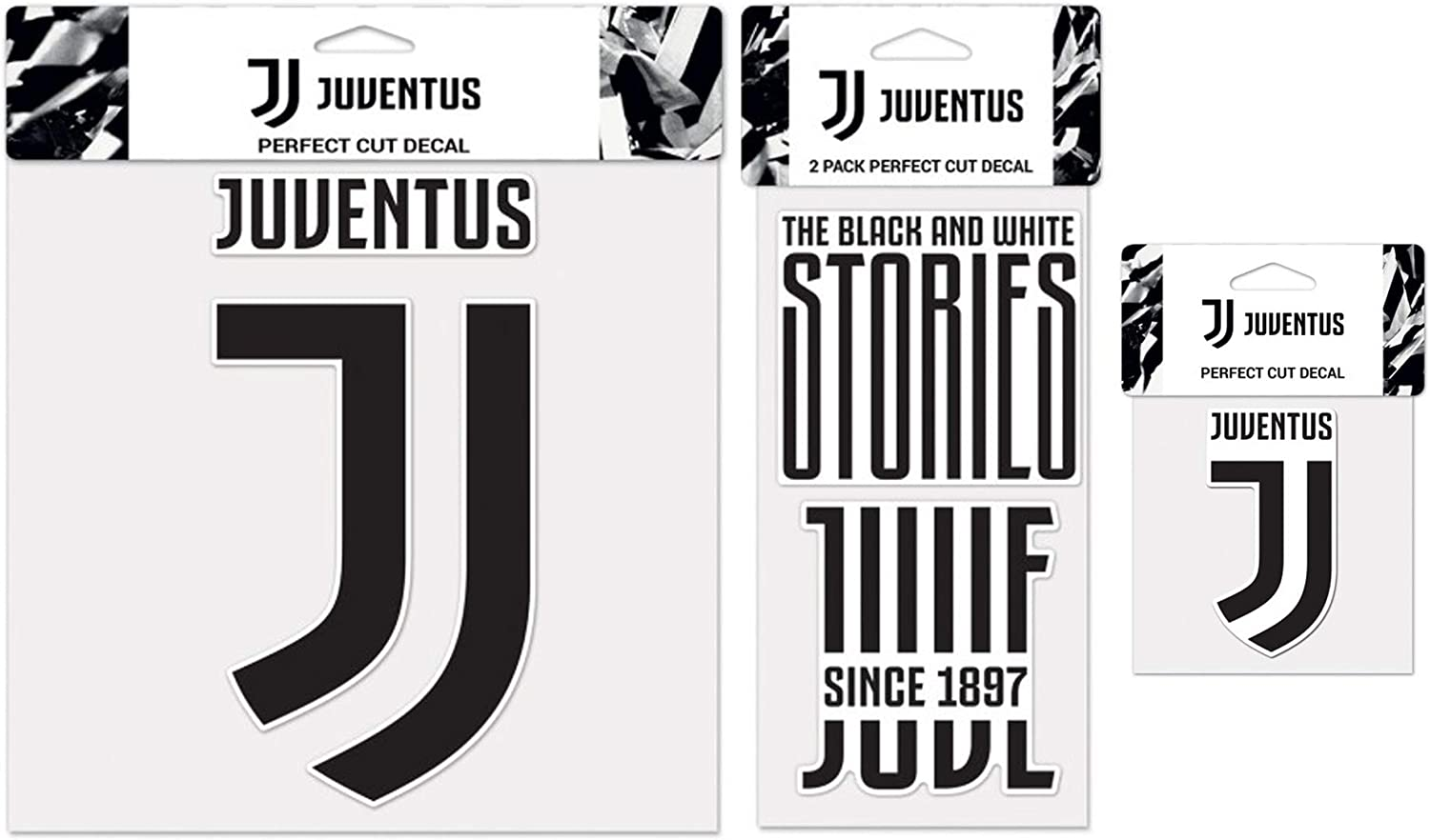 WinCraft Bundle 3 Items  Juventus Football Club 1 Large Decal, 1 Sheet of 2 Small Decals, and 1 Small Decal