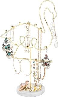 منظم حامل المجوهرات من صن NYDATE ، حامل عرض مجوهرات معدني للقلادة والأقراط والإكسسوارات (فلامنغو)