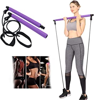 Pilates Exercise Stick with Resistance Band Portable Home Workout Equipment for Women, Pilates Bar Kit Yoga Resistance Ban...