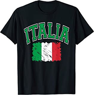 Italia Varsity Lettering with Paintbrush Style Flag T-Shirt