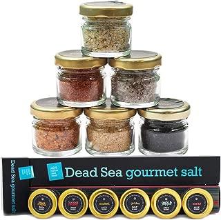 Gourmet Sea Salt Sampler 6-Pack - Organic Dead Sea Seasoning Salt Variety Set Including Kosher Garlic Salt, Cooking Black Coarse, Smoked, Hot Chili, Pepper, Golden and Diamond Crystal Flavors, 0.88oz