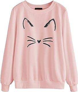 f0fbdefe7 Romwe Women's Cat Print Sweatshirt Long Sleeve Loose Pullover Shirt