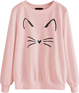 Women's Cat Print Lightweight Sweatshirt Long Sleeve Casual Pullover Shirt
