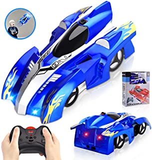 INLAIER Remote Control Car Gravity Defying RC Car Race Car Toys for Floor and Wall or Glass, Rechargeable Fast RC Car 360°Rotating Stunt RC Cars for Kids and Adults (Silver Blue)