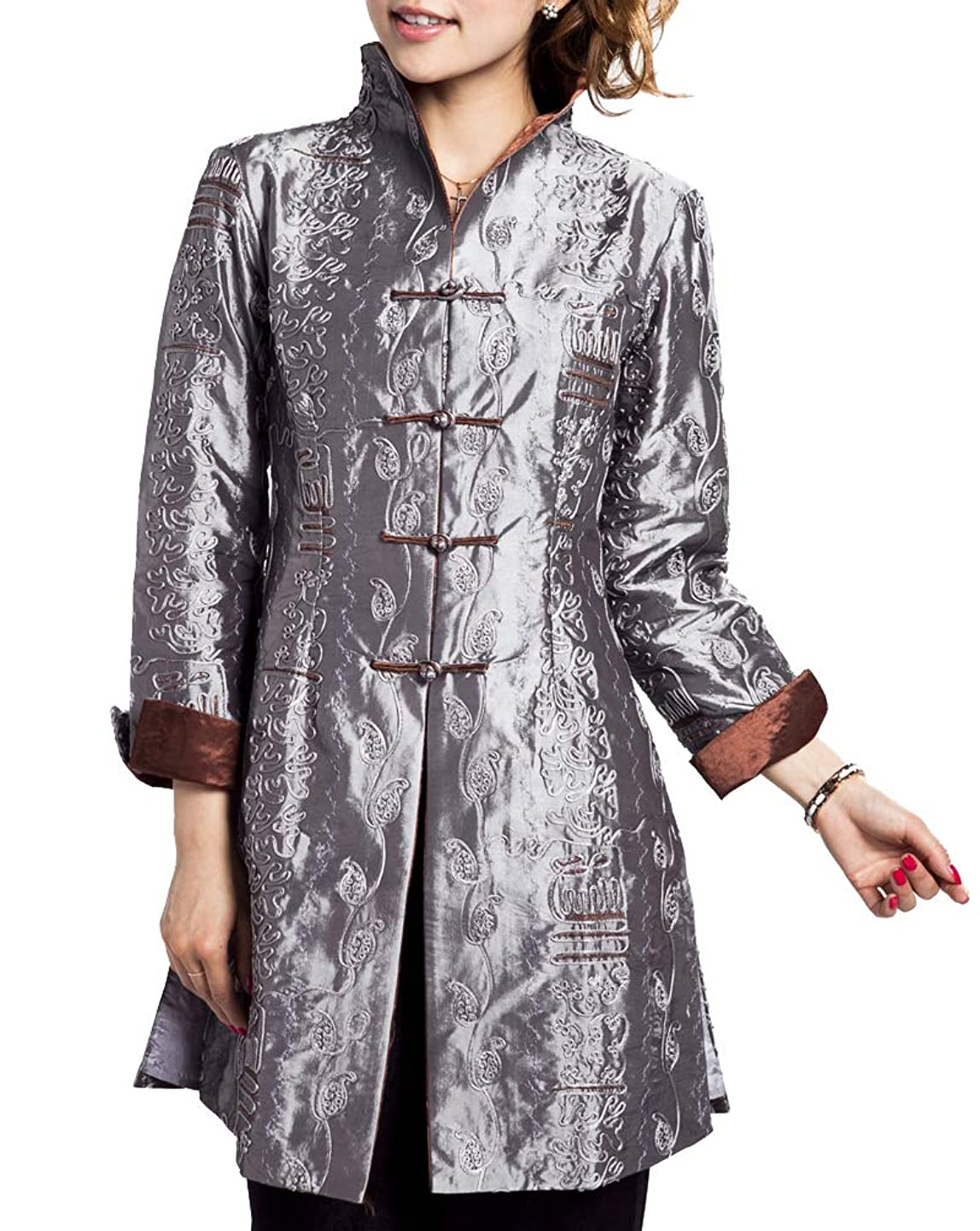 Bitablue Chinese Jacket with Leafy Embroidery Pattern