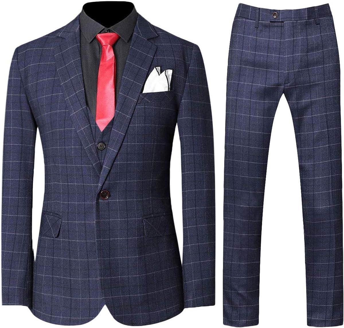 Mens 3-Piece Plaid Suit Set Modern Vest Pa Fit Limited Arlington Mall time trial price Jacket Tux Blazer