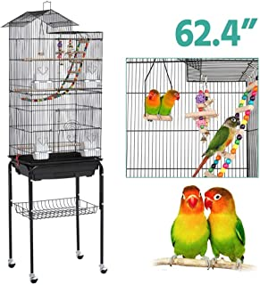 Yaheetech Roof Top Large Metal Flight Bird Cage for Cockatiel Parakeet Conure Lovebird Budgie Parrotlet Finch Canary Small Parrot Bird Cage with Stand
