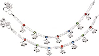 Frolics India Multicoloured Stones Studded with Ghungroo (Sound) Alloy Anklet for Kids