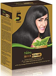 Nisha Quick hair color henna-based herbal protection & NO AMMONIA 100% Grey coverage permanent Root Touch Up & Full hair color