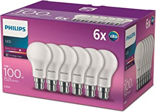 Philips LED B22 Frosted Light Bulbs, 13 W (100 W) - Warm White, Pack of 6