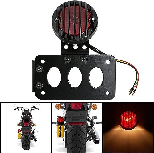 FREESOO Moto Feu Arrière Feux de Stop 4'' Facile à Installer Lumière de Frein Grille Tail Support de Plaque d'immatri...