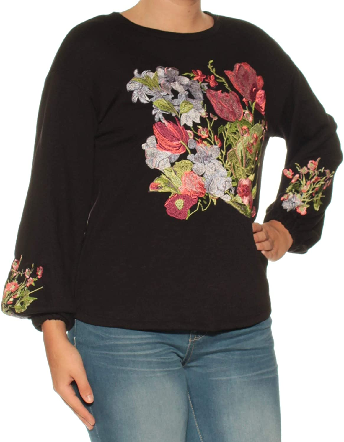 Inc 89 Womens New 1050 Black Embroidered Jewel Neck Long Sleeve Top S B+B