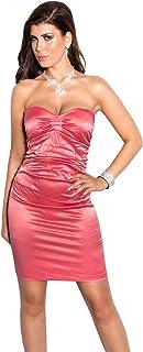 Firstclass Trendstore ärmelloses, Schulterfreies Minikleid im Satin-Look Gr. S M L XL, Kleid Abendkleid Cocktailkleid Etuikleid