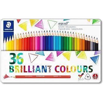 STAEDTLER 157 M36 Ergosoft Triangular Colouring Pencil, Assorted Colours, Tin of 36