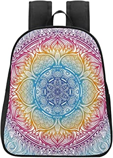 Ethnic Individual Backpack,Magical Fantastic Design in Vivid Colors Boho Round Figure Blooms Lotus Inspiration Decorative for School,One_Size