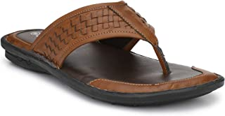 SHENCES MENS TAN COMFORTBLE CUSHIONED FOOTBED SANDAL