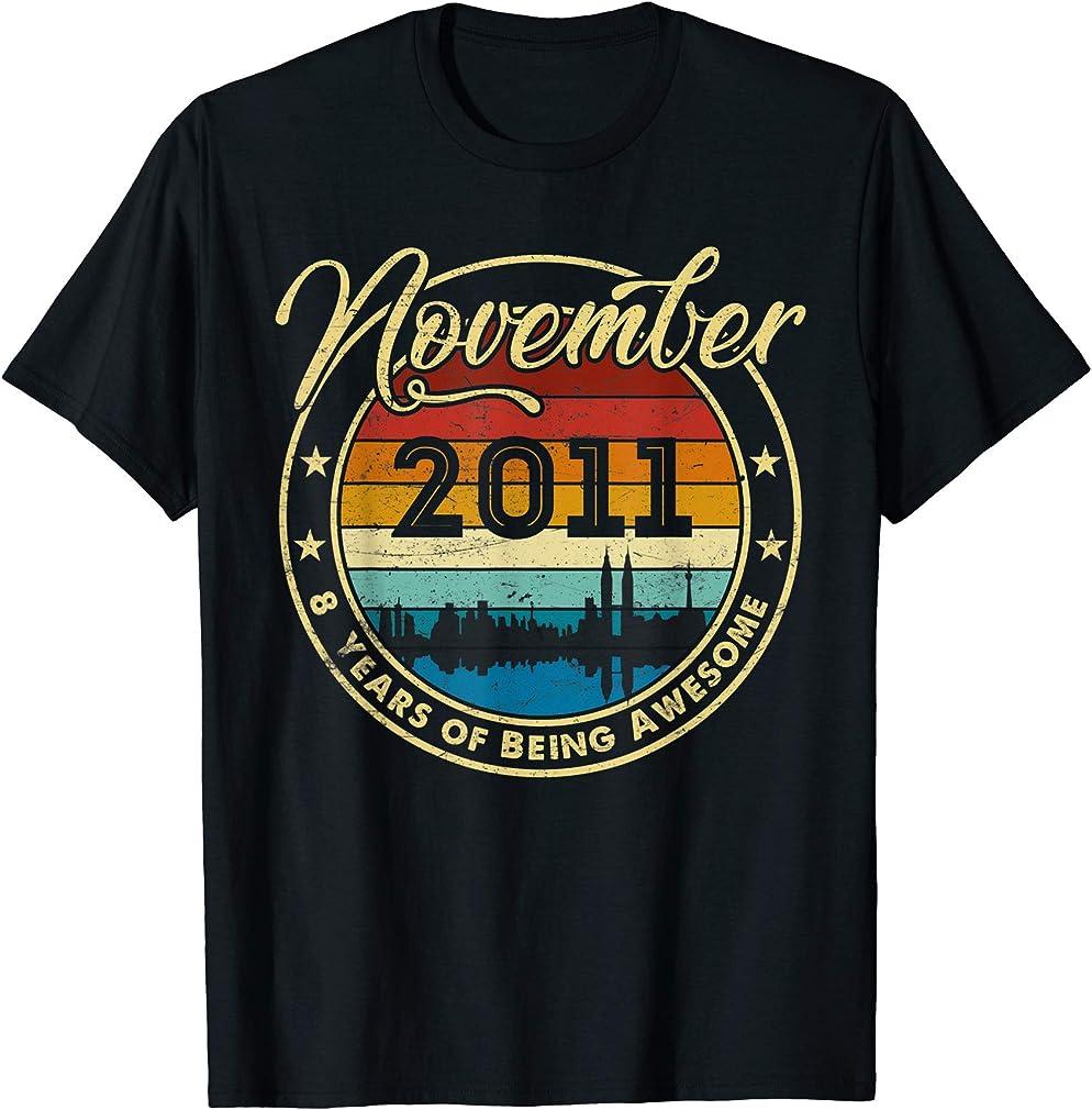 Classic November 2011 8 Years Old 8th Birthday Gift T-shirt