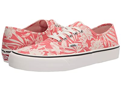 Vans Authentic SF ((Floral Linen) Deep Sea Coral/Marshmallow) Lace up casual Shoes