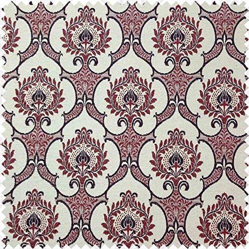Yorkshire Fabric Shop Vin Rouge avec Beige Doré Couleurs Floral Motifs Design Toucher Doux en Tissu Chenille Tissu d'ameublement Coussins Tissus Code 383