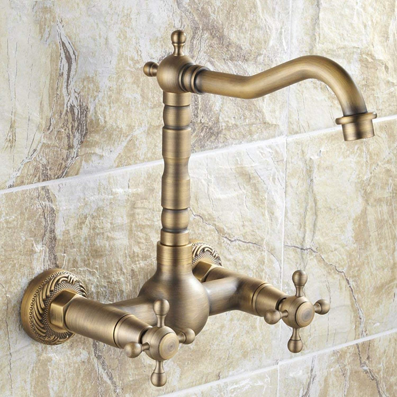 ZTMN Hngen Sie Wand Typ Wasserhahn RetroBrassBasin Wasserhahn rotierenden heien und kalten Wasserhahn Waschbecken