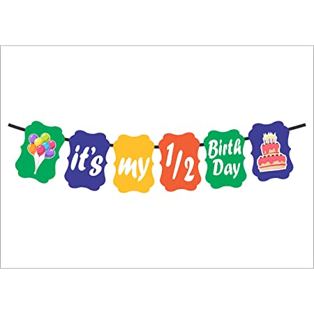 Syga Half Month, 1/2 Month Baby Birthday Banner of Birthday Party Decoration Photo Shoot Banner - multicolor