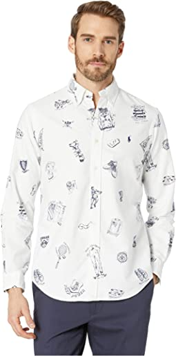 Printed Oxford Long Sleeve Classic Fit Sport Shirt