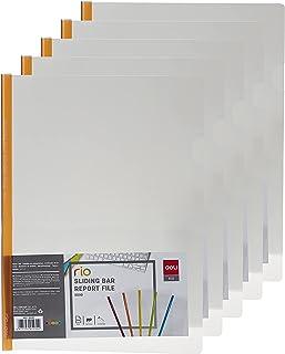 Deli E5530, Sliding Report Folder, Clear, Assorted color (Pack of 5)