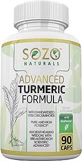 SOZO Naturals Advanced Turmeric Formula, with Organic Turmeric Curcumin, High Potency 95% Curcuminoids and Bioperine, 3rd Party Tested, 1500mg per Serving in Veggie Capsules