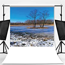 Panoramic View of Flooded and Frozen Grassy Forest Meadows in Early Spring Season in Central Poland mazovian p Photography Background,004245 for Photo Studio,Flannelette:6x10ft
