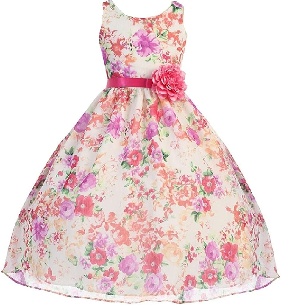 Lovely Girl Dress Refreshing Tropical Floral Print Chiffon Flower Girl Dress