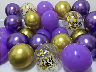 Latex Balloons Purple and Gold –12inch Violet Lilac Lavender Metallic Chrome Gold Balloons Assorted for Wedding Baby Showe...