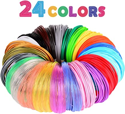 3D Pen/3D Printer Filament,1.75mm PLA Filament Pack of 24 Different Colors,High-Precision Diameter Filament, Each Color 10 Feet, Total 240 Feet Lengths by Mika3d